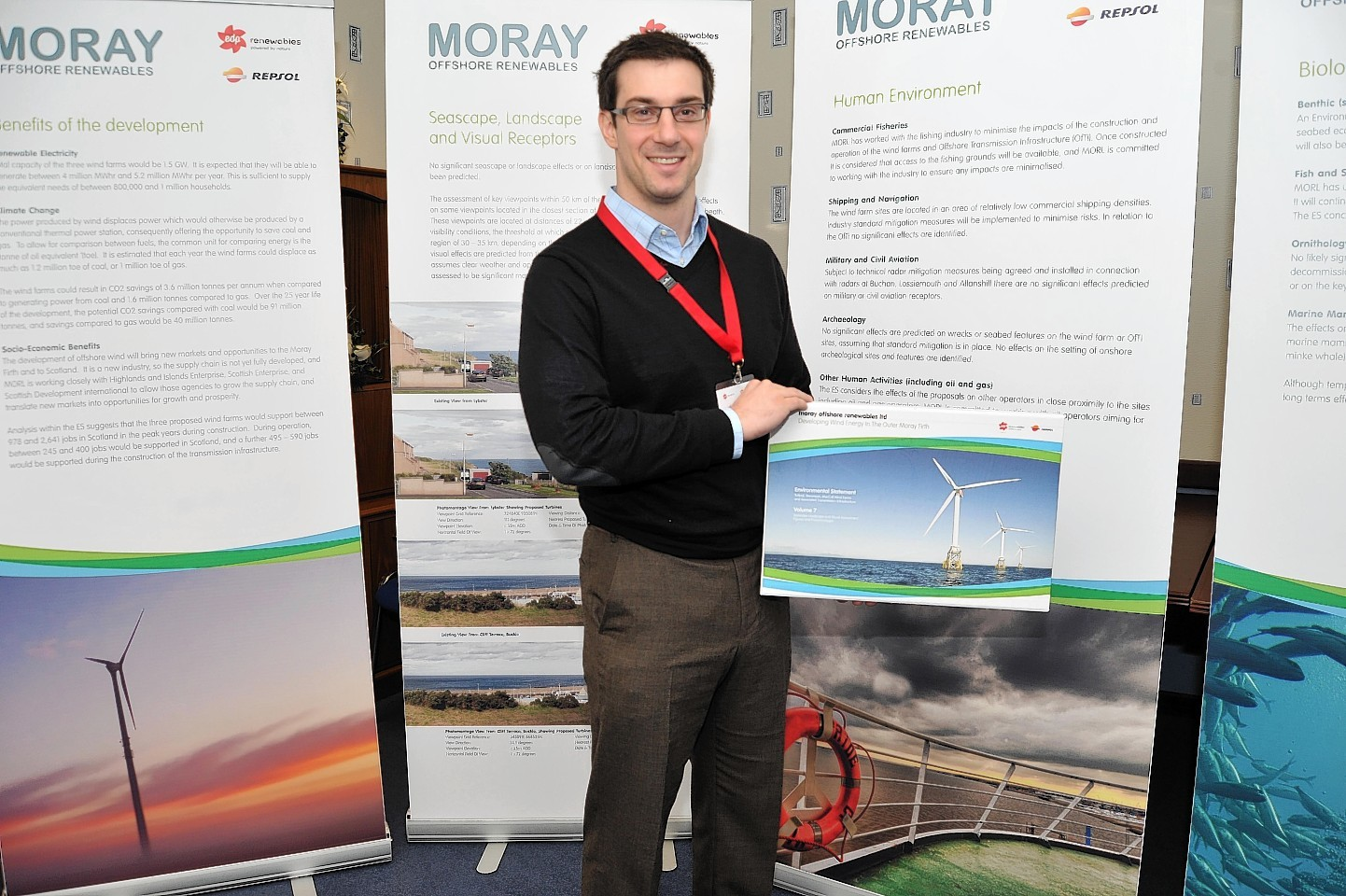 Tom Loturco of MORL at an exhibition of the windfarm plans