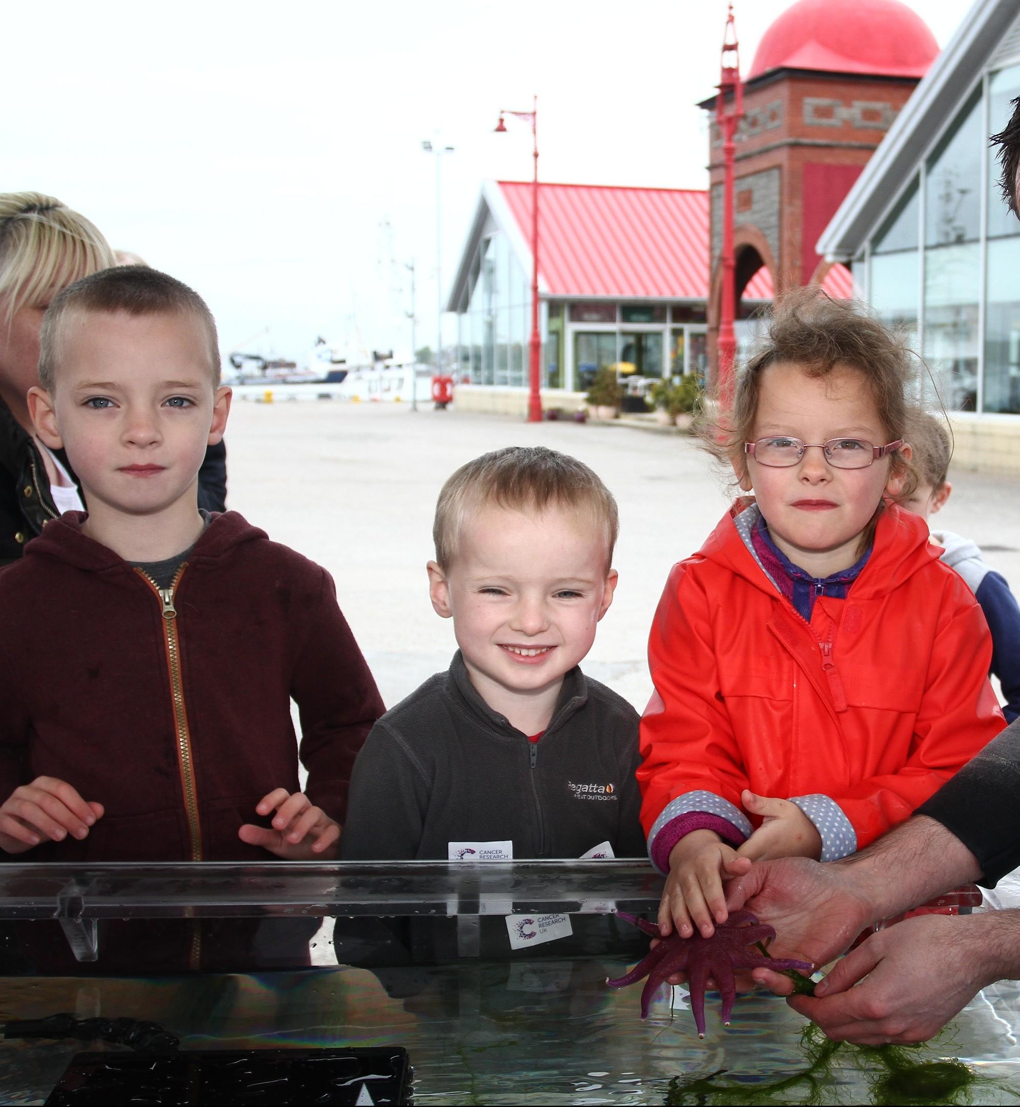Joseph Christie,5, Michael Christie, 4, and Kerry Thomson, 6, meet a sunstar