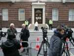 Media gather outside the Lindo wing of St Mary's Hospital in Paddington