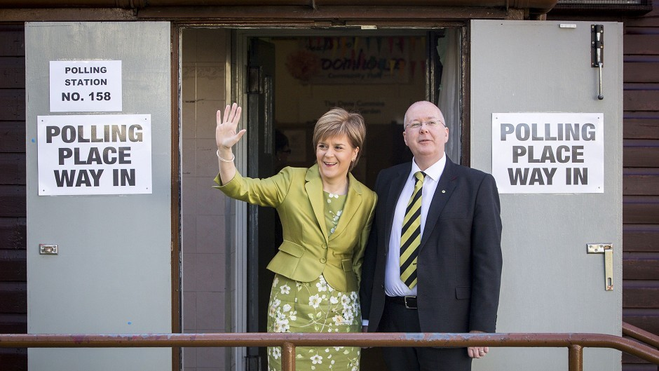 Nicola Sturgeon with her husband Peter Murrell at a polling station