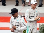Lewis Hamilton, left, had to settle for third place in the Monaco GP