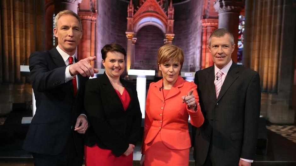 Scottish Labour leader Jim Murphy, Scottish Conservative leader Ruth Davidson, SNP leader Nicola Sturgeon and Scottish Liberal Democrat leader Willie Rennie take part in the debate