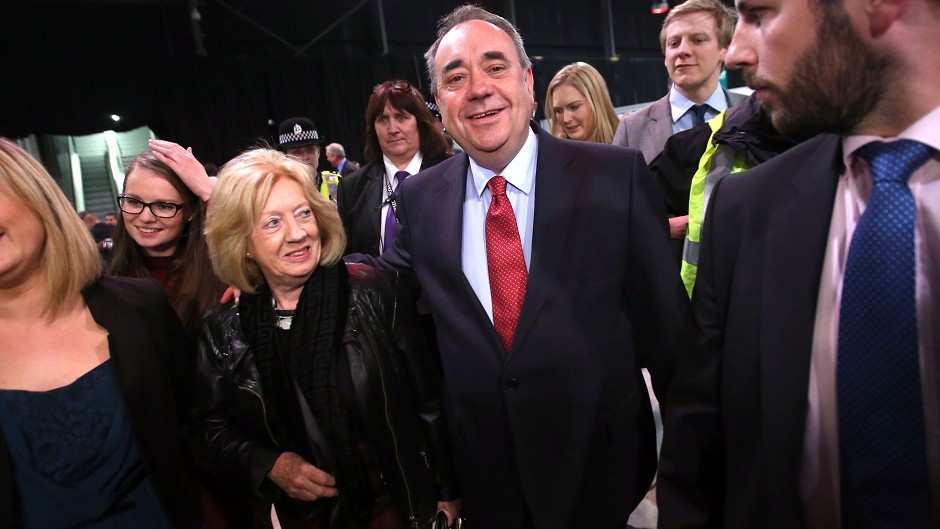 Alex Salmond and his wife Moira arrive at the count for the Banff and Buchan, Gordon, and West Aberdeenshire and Kincardine constituencies in Aberdeen