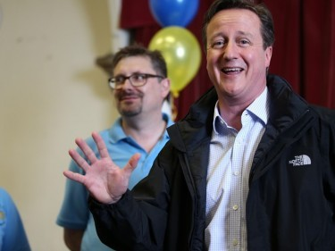 David Cameron meets supporters on the election campaign trail in West Yorkshire