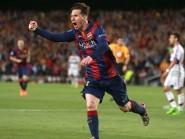 Lionel Messi celebrates scoring the first goal