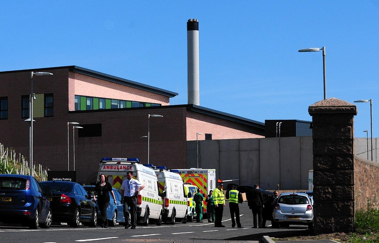 Police on the scene at HMP Grampian following disturbance