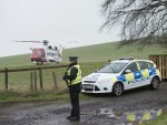 Police and coastguard at the crash site near Abernyt