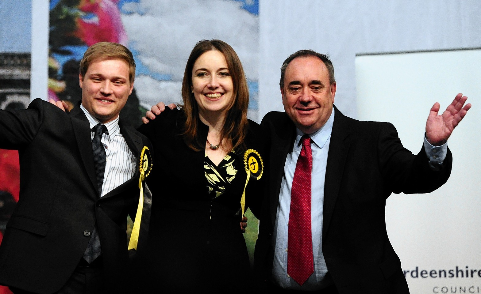 UK General Election count at the AECC for Gordon, West Aberdeenshire and Kincardine and Banff and Buchan.     Stuart Donaldson, Eilidh Whiteford and Alex Salmond.     Picture by Kami Thomson