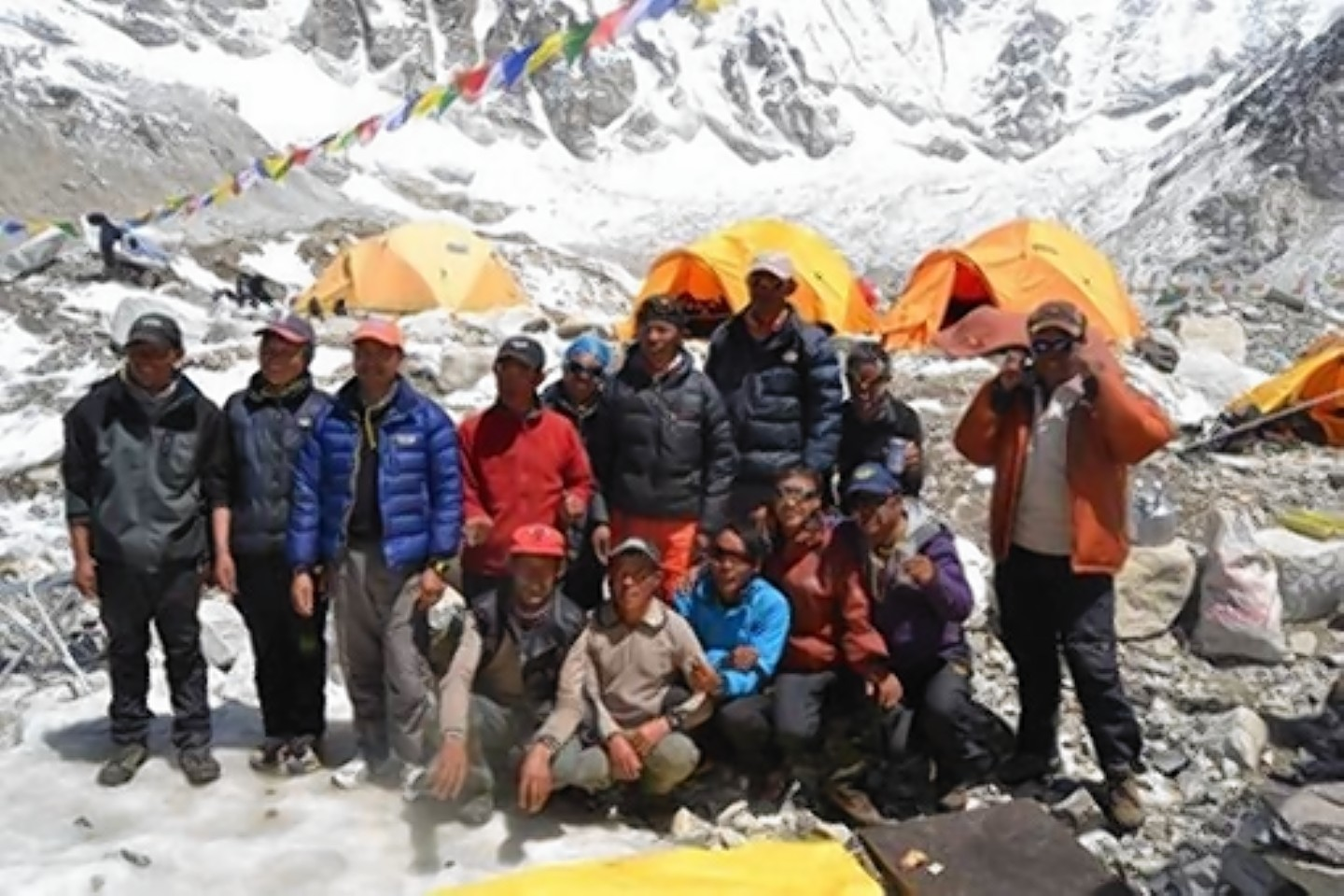 The sherpa group at Everest base camp a few days before the devastating avalanche which killed three of the group