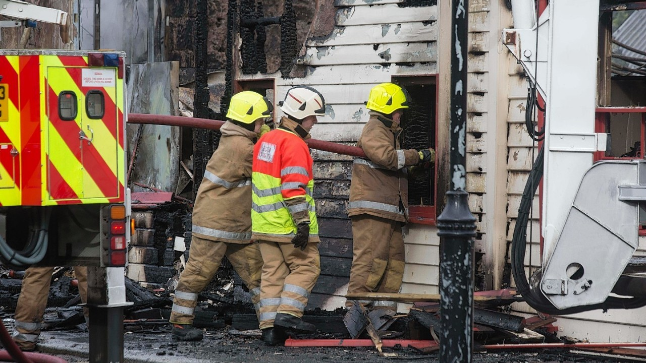 Firefighters at the scene in Ballater