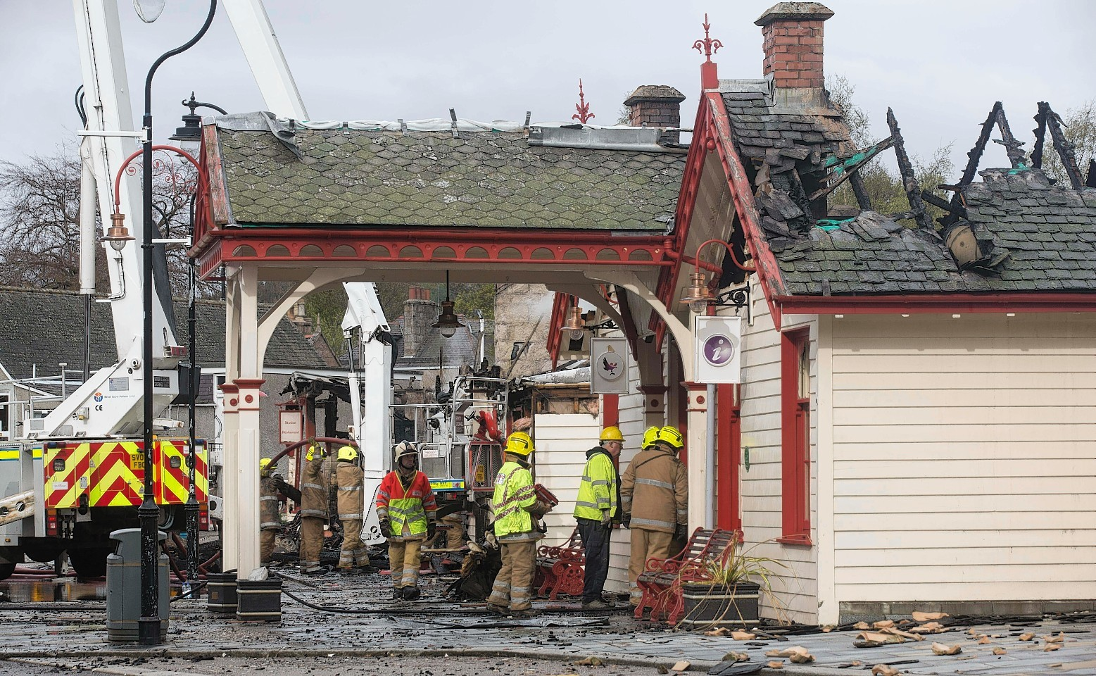 The old railway station in Ballater has been ruined by the fire