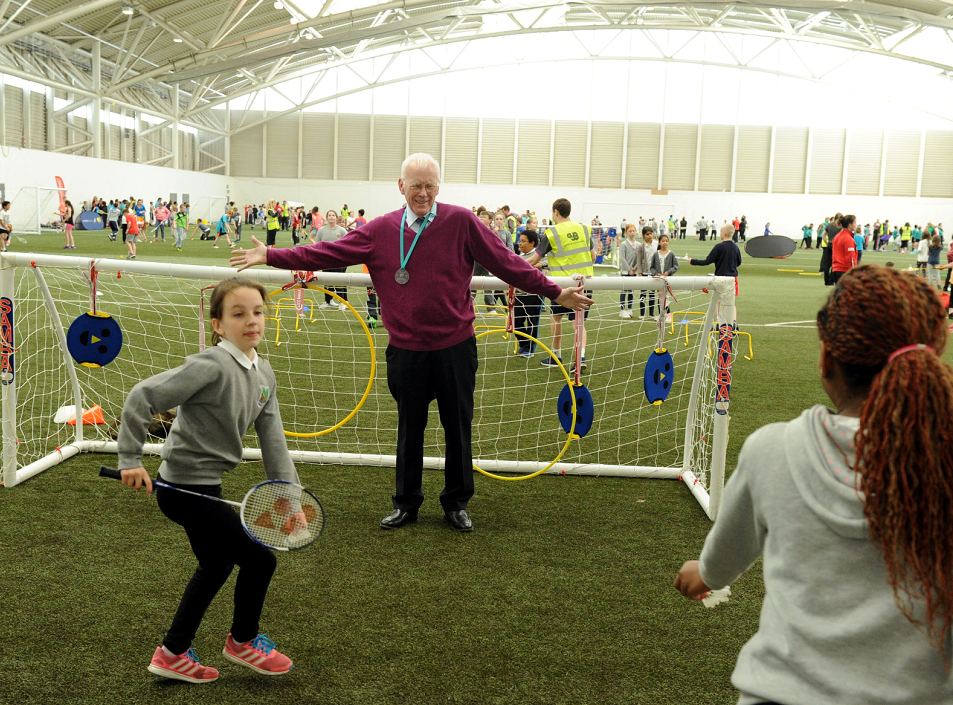 Sir Ian Wood, who donated £10,000 to help kick off the project, joined in the fun and games yesterday.