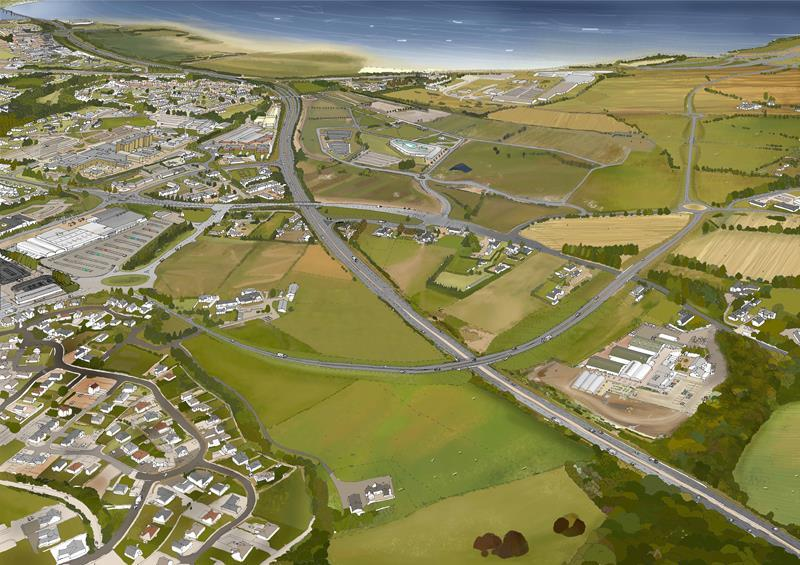 An artist's impression of one of the options for the A9/A96 connection