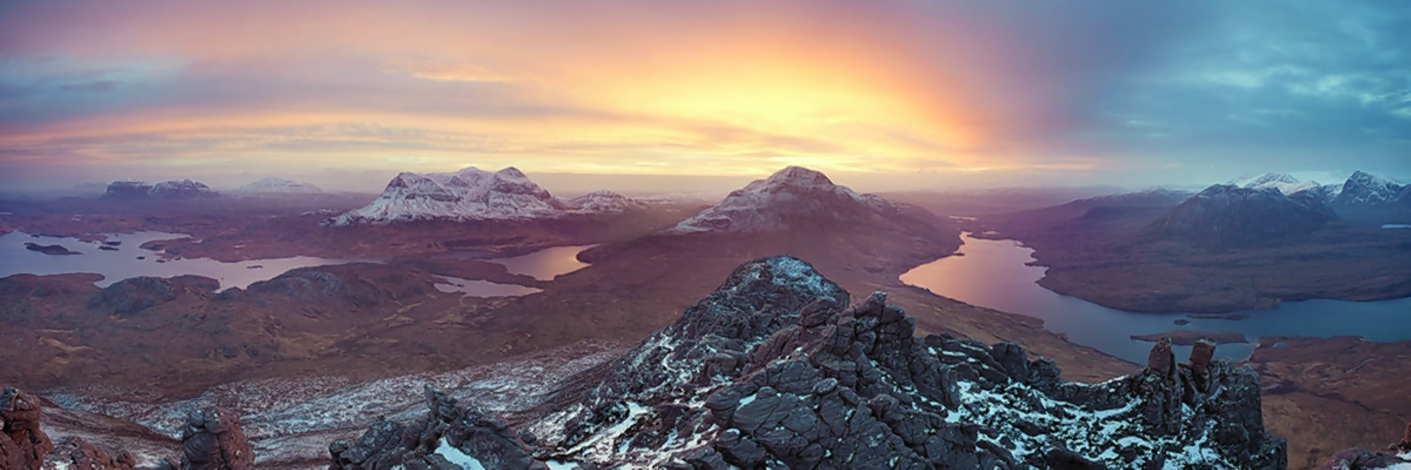 The Assynt mountain range, with Suilven in the background