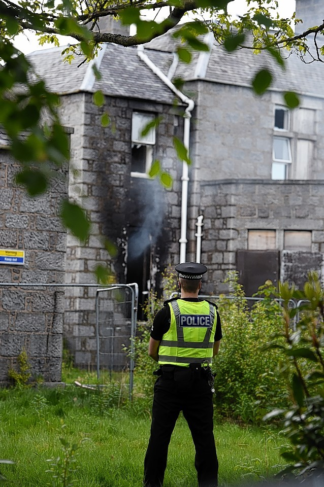 A fire in a disused building in the site of Cornhill hospital, Aberdeen. Picture by JIM IRVINE    8-6-15