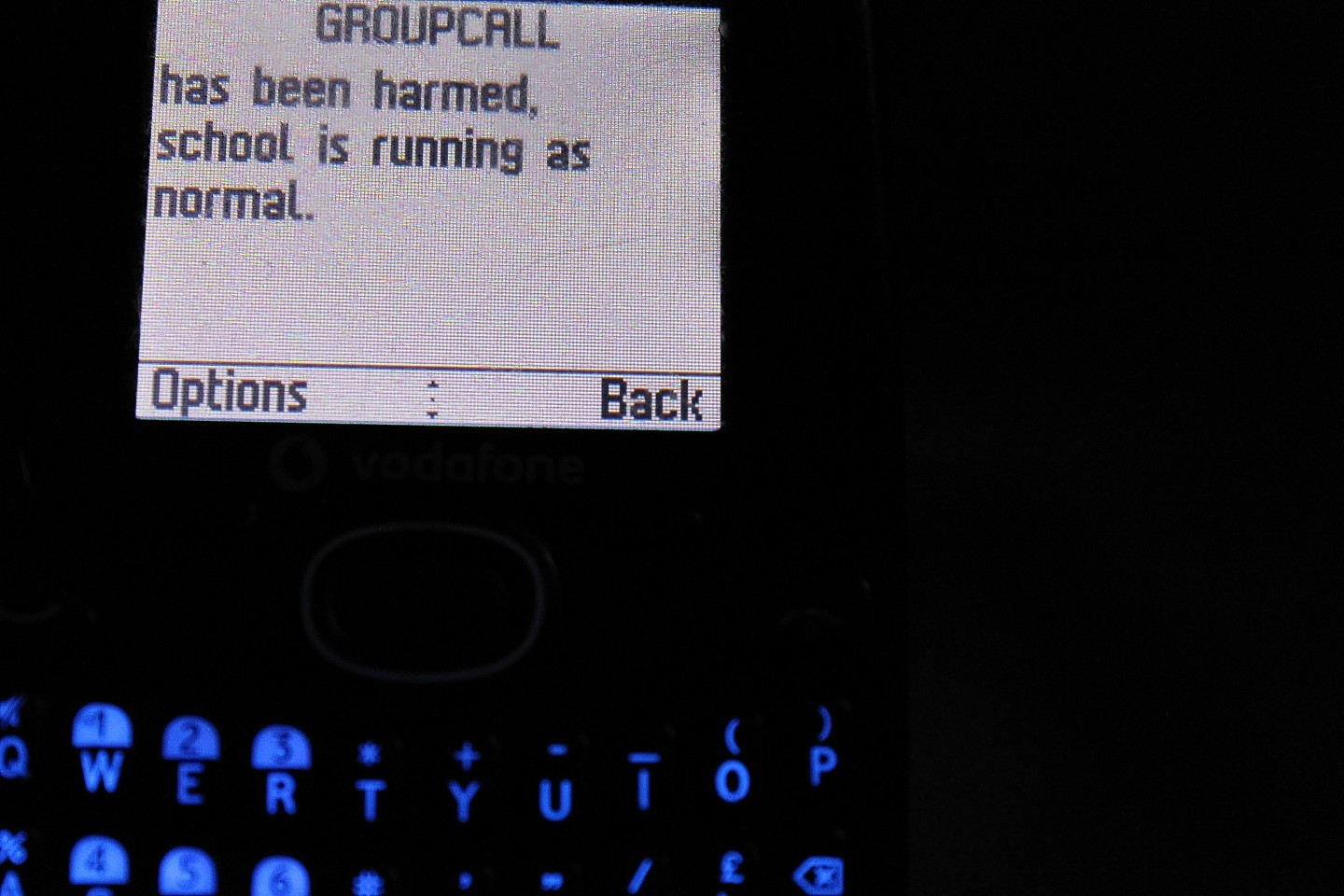 The text message sent to Dyce Academy parents