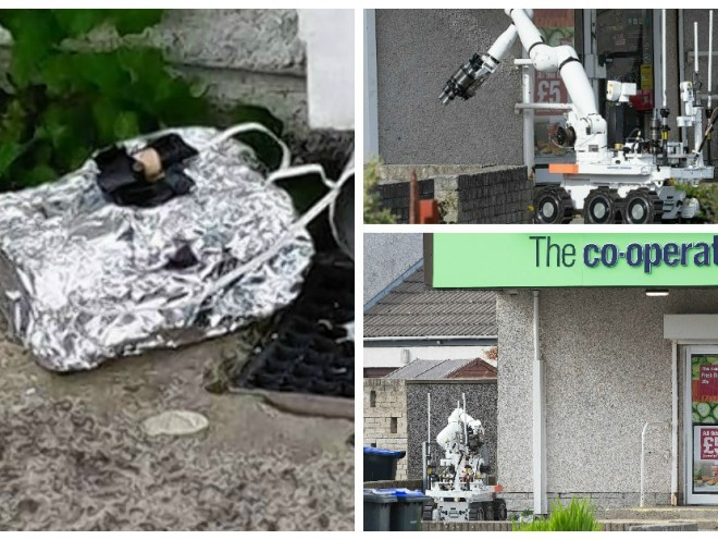 The bomb squad's remote-controlled robot detonated the device found outside the Fraserburgh Coop