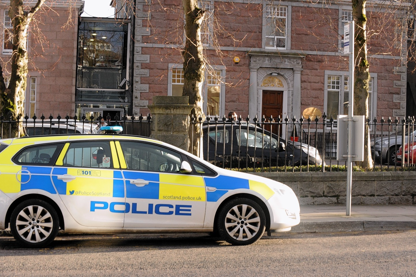 Police outside the Hamilton School following its closure