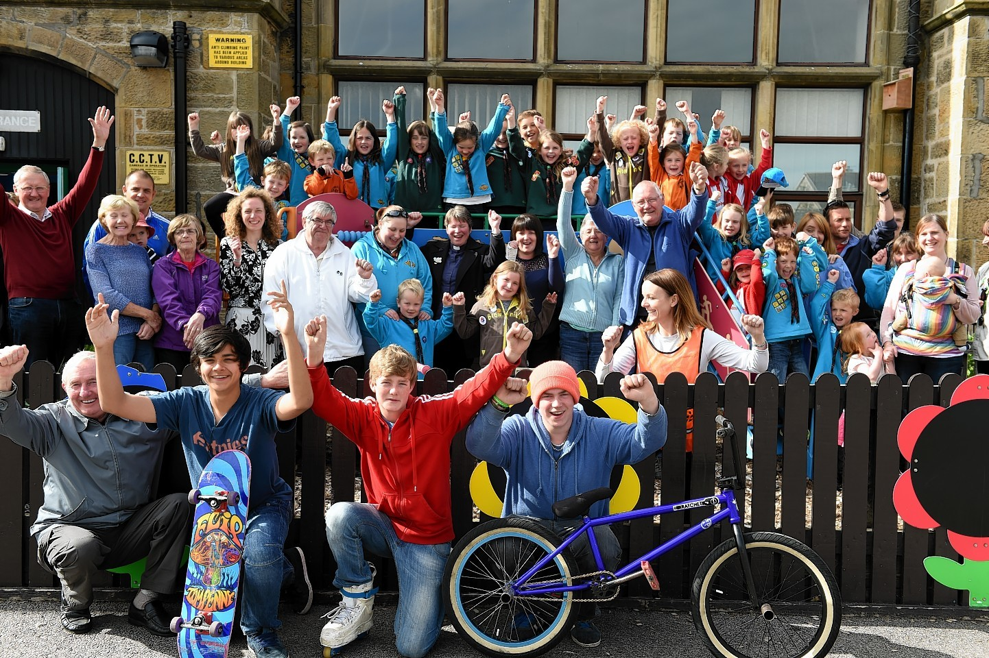 Hopeman community rallied round to show how much they wanted to win the Press & Journal Community minibus competition. Picture by Gordon Lennox
