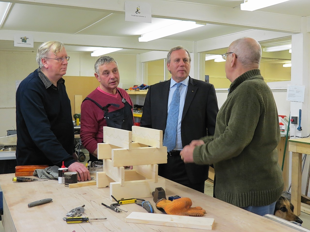 Westhill Men's Shed: Nick Pilbeam, Lui Forno, Dennis Robertson MSP, Mike Benzie