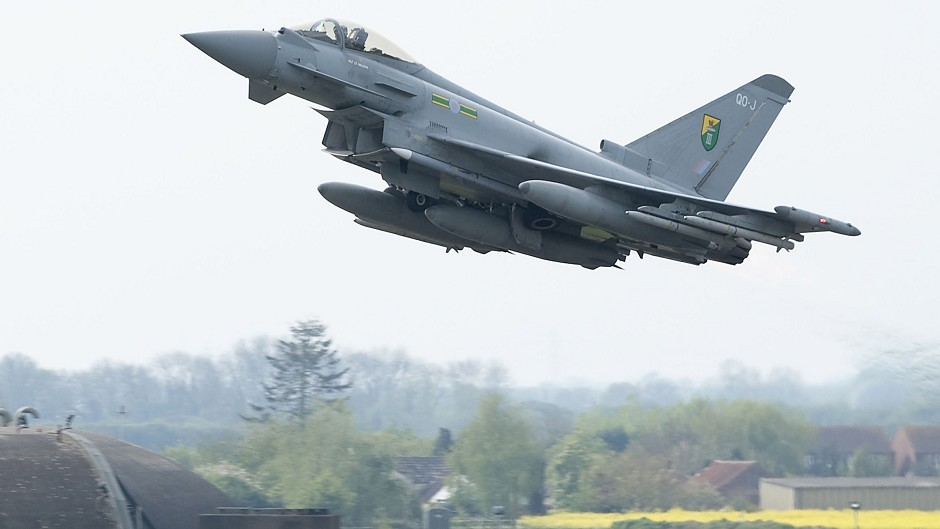 The Typhoons were scrambled to meet five unidentified aircraft