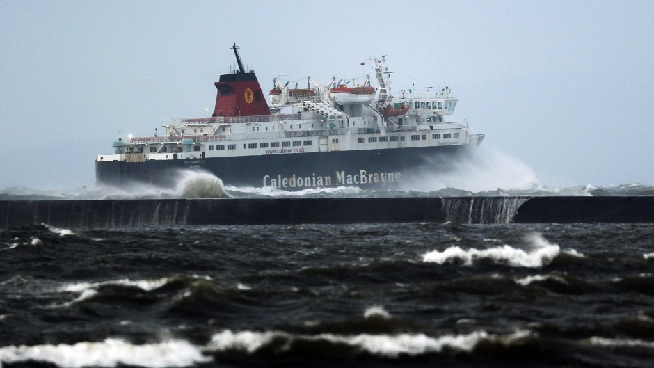 CalMac cancelled a number of services due to the  bad weather