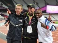 Galen Rupp, left, with coach Alberto Salazar and training partner Mo Farah