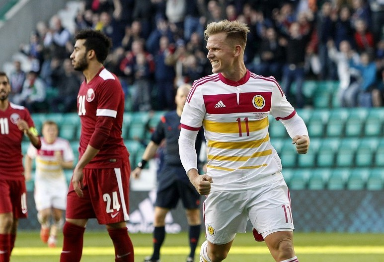 Matt Ritchie celebrates scoring for Scotland against Qatar