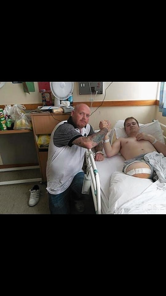 Paul Buchan with the ship cook Charlie McDonald, who saved his life that day