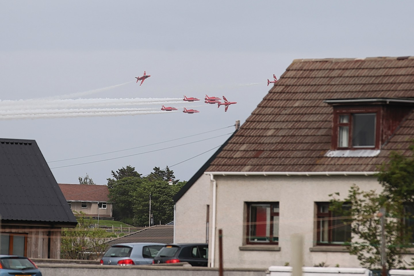 Red Arrows over Stornoway. Credit: Sandy MacIver
