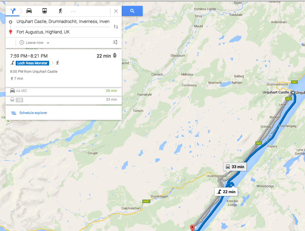 Nessie is one of the travel options on Google Maps