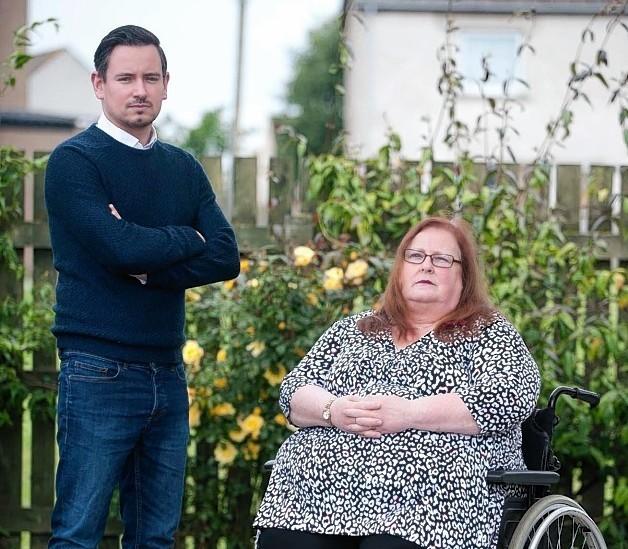 Sylvia Stobbart, at home in Portgordon with councillor Sean Morton