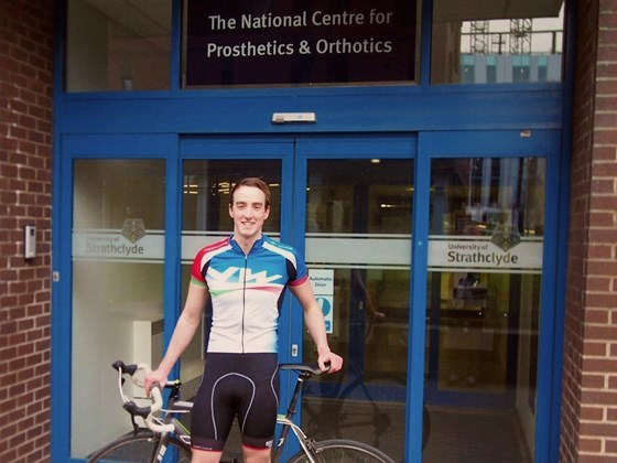 Tom Robertson, of Drumoak, has started a 1,200-mile cycle from Paisley to Pamplona for amputee charity, Mukti