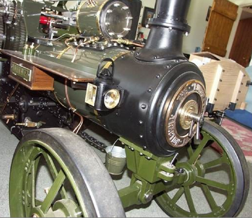Thieves stole the lamps from this model steam traction engine at a spring fair
