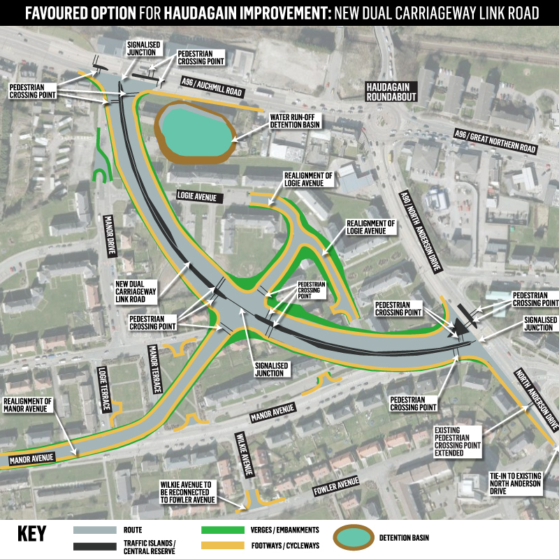 Map of the plans for the Haudagain Roundabout