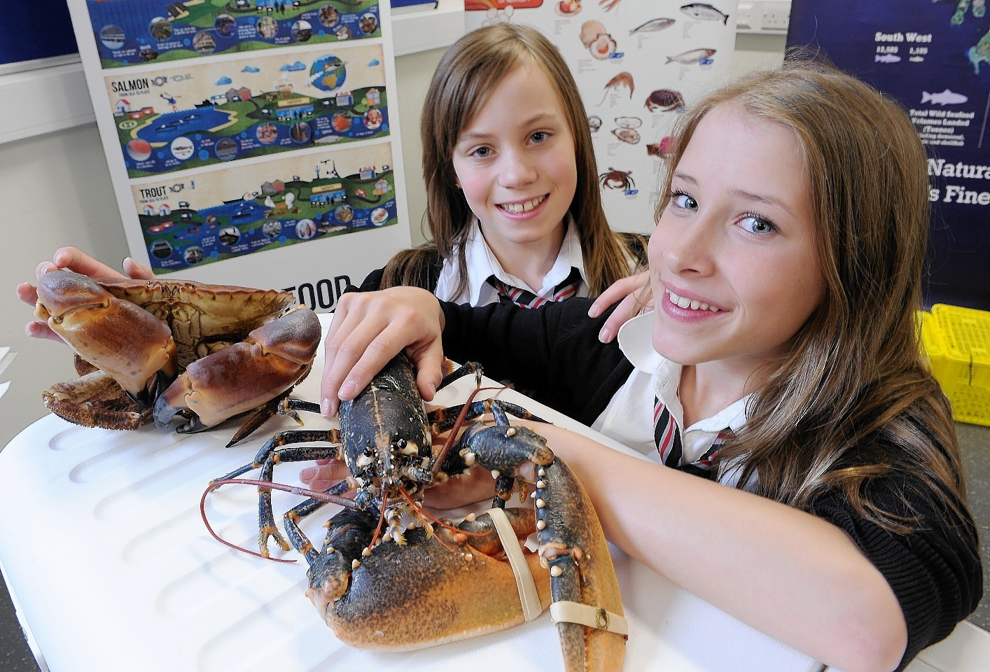 Kingussie High pupils Lottie Converey (left) with a crab and Kamara Tait Davis with a lobster