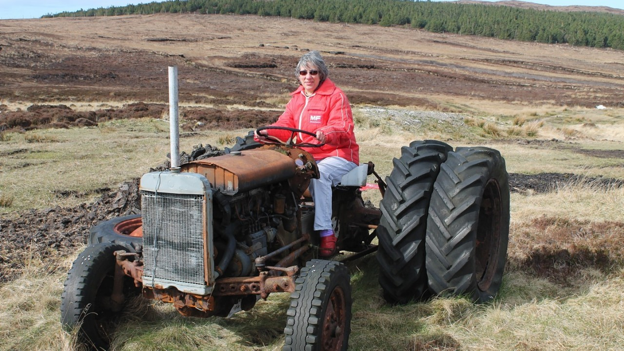 Liz with the madeover tractor. Picture by Liz Crichton