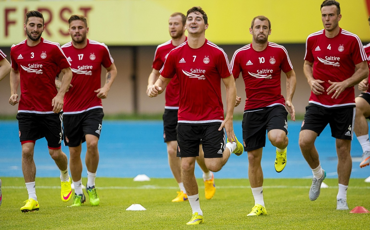 McLean trains with his Dons team mates in Macedonia