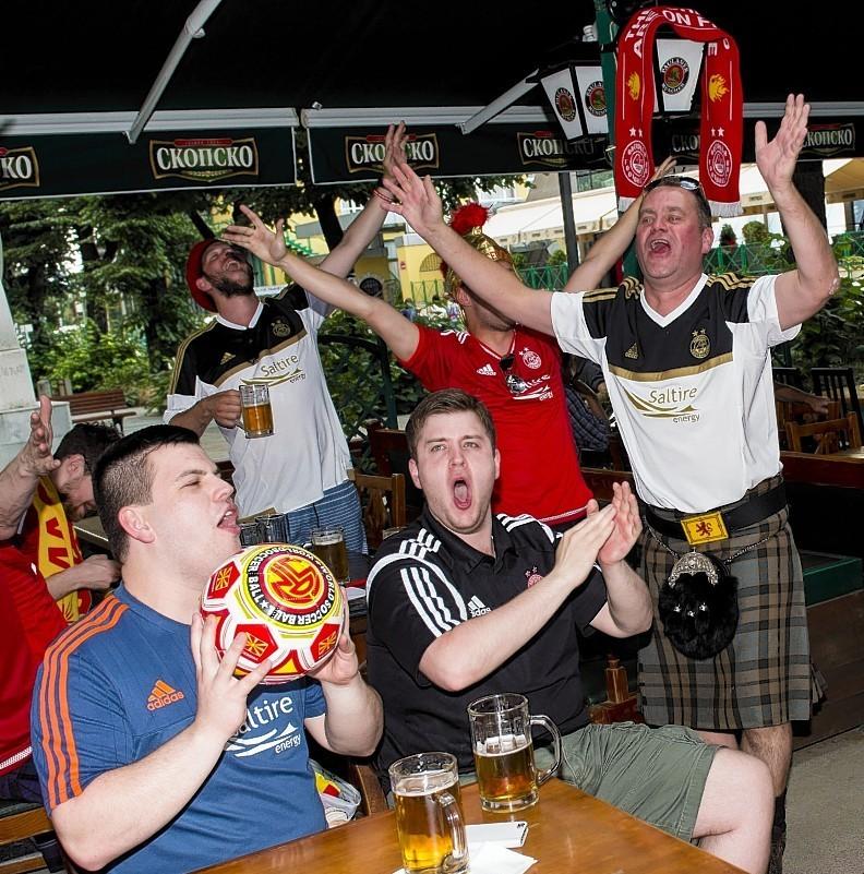 IN PICTURES: Aberdeen fans party in Skopje ahead of Europa League qualifier