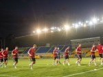 The Dons train in Central Stadium, Kazakhstan