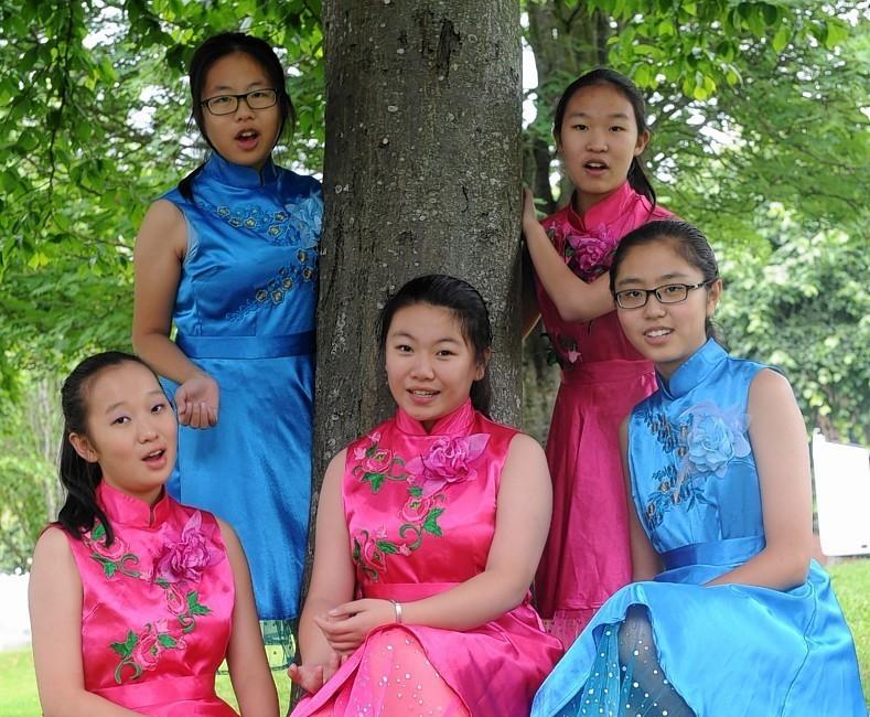 Members of the choir Huang Ziyun, Lisi Zhui, Zhang Jiryu, Zhang Yinyi and Shi Yinuo