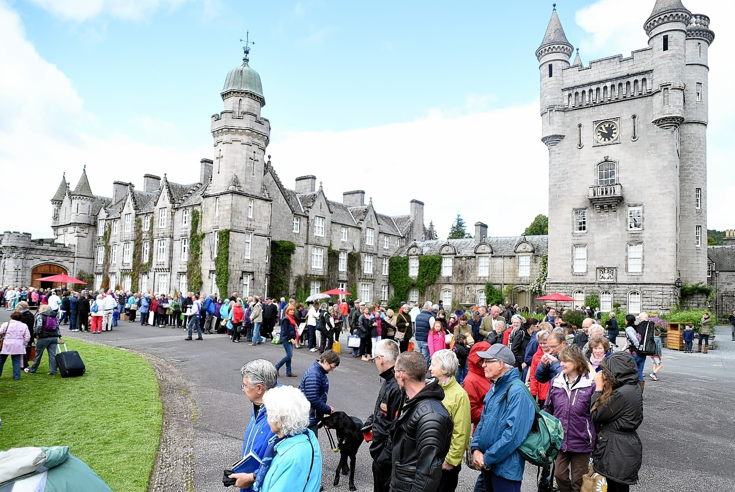 The crowds arrive as the BBC film the Antiques Roadshow episode at the Queen's Scottish residence, Balmoral Castle. Picture by Kami Thomson