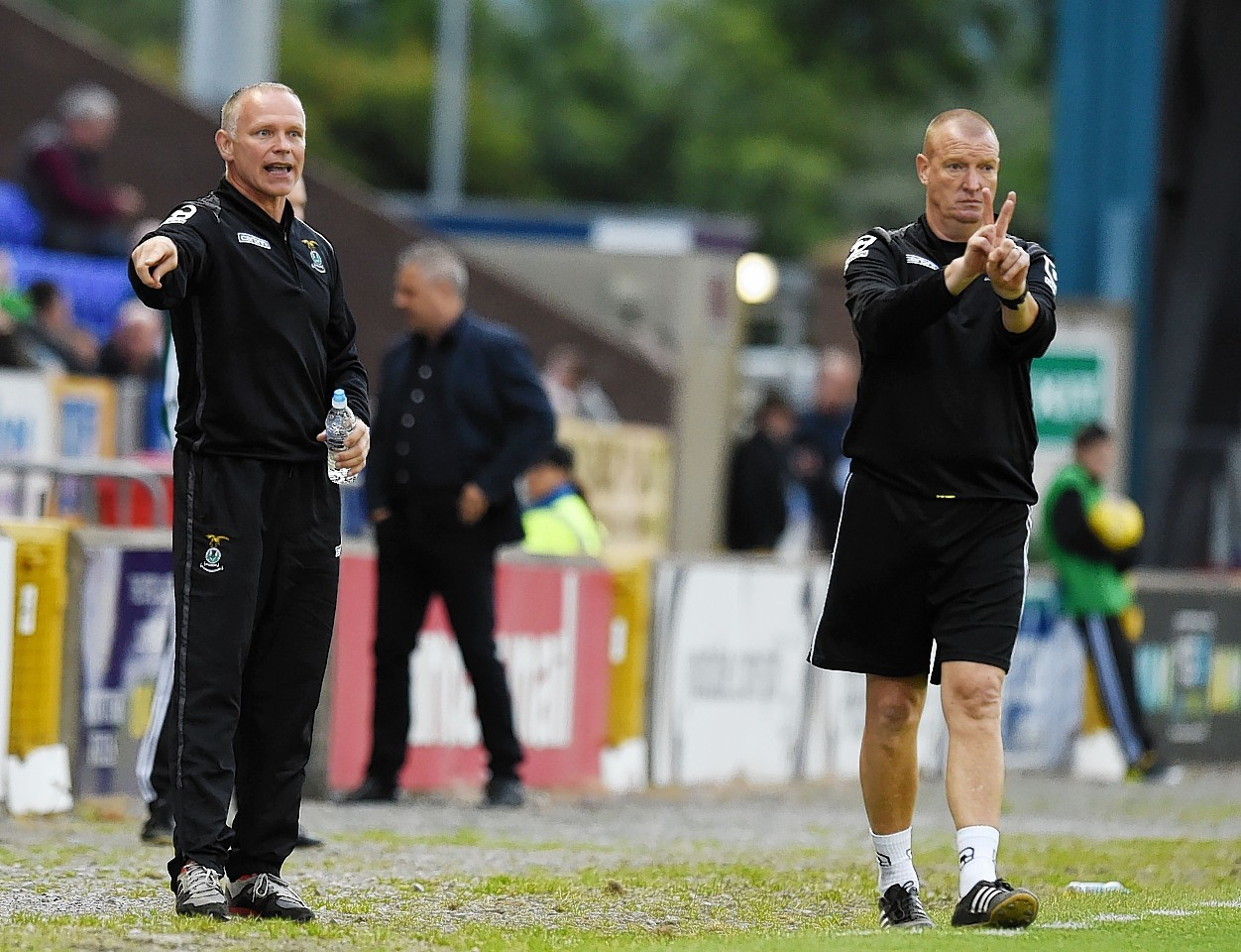 Brian Rice, right, will oversee touchline duties due to John Hughes' suspension.