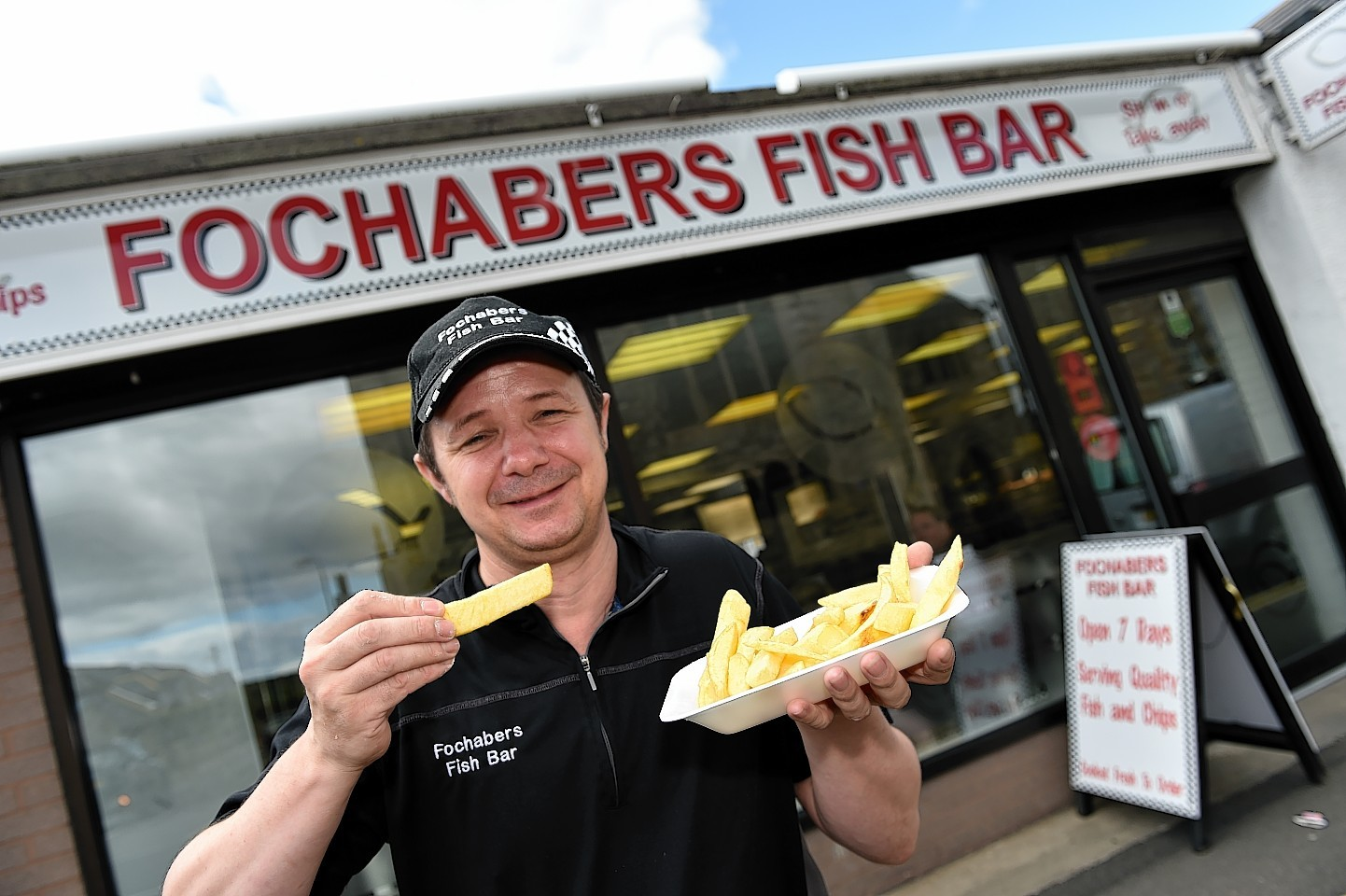 Darren Boothroyd at the Fochabers Fish and Chip Shop