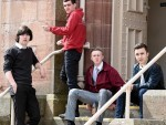 Four of the teenagers outside court: Kyle Etheridge, Ross Clark, Liam Fraser and Connor Etheridge.