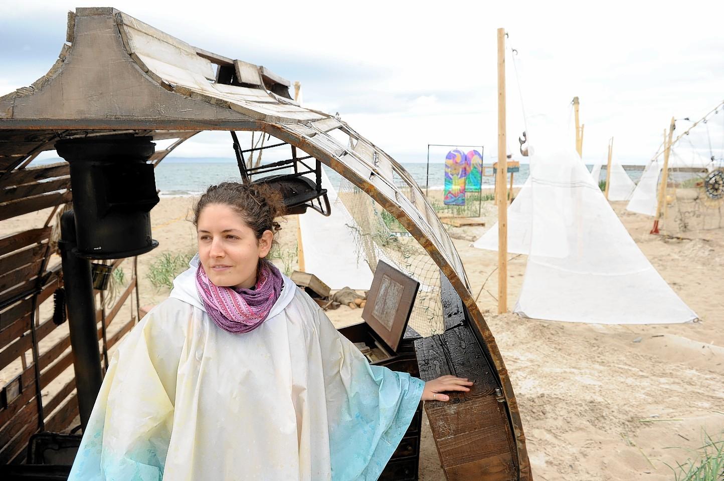 Irene Carita Morelli with her display on Nairn beach