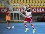 Niall McGinn celebrates opening the scoring in Macedonia