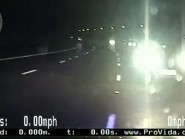 Screen grab taken from footage of the moment two police officers risked a head-on collision when trying to stop a car driving the wrong way down a motorway (West Midlands Police/PA)