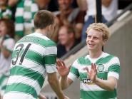 Gary Mackay-Steven, right, celebrates Celtic's second against Den Bosch