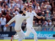 Steven Finn, right, took five wickets on day two at Edgbaston